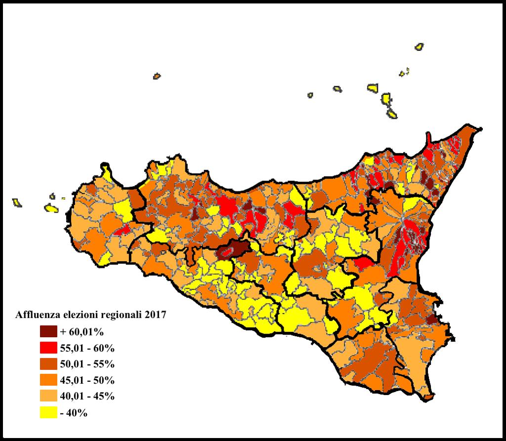 Cartina Sicilia Comuni.Sicilia L Astensione E Ancora Maggioranza La Mappa Per Comune Cise