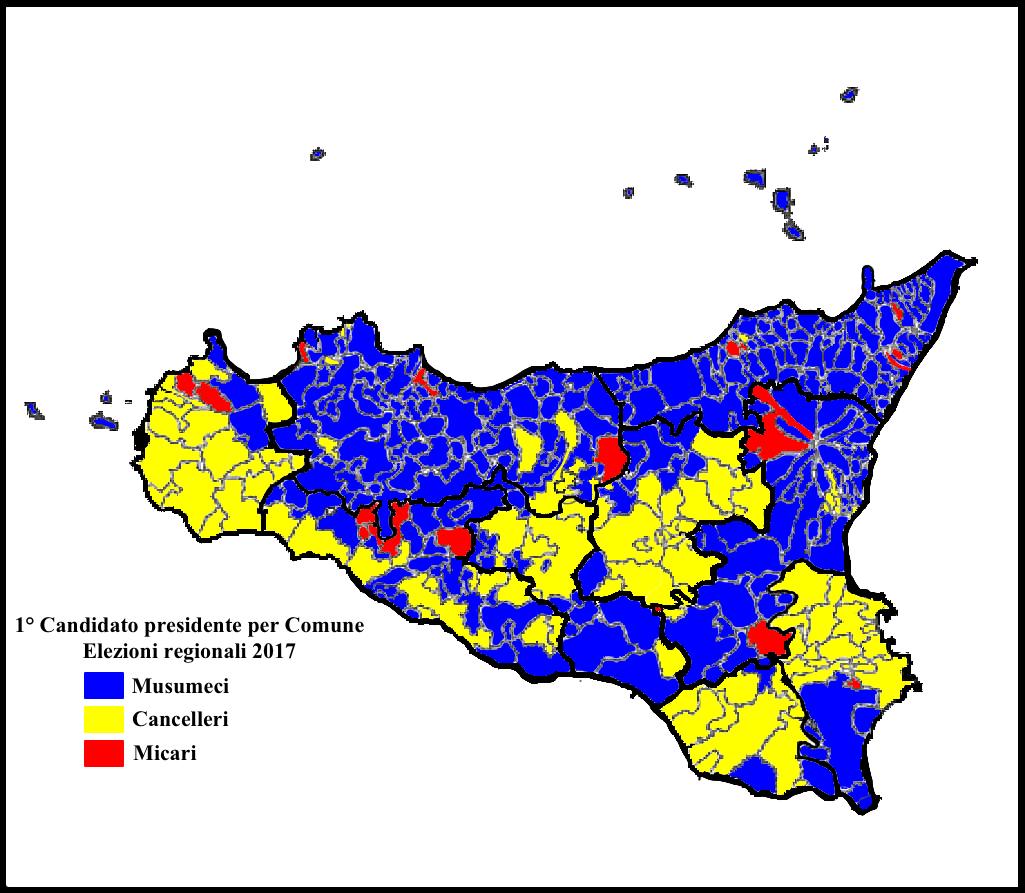 Cartina Sicilia Comuni.Sicilia La Geografia Del Voto Cise