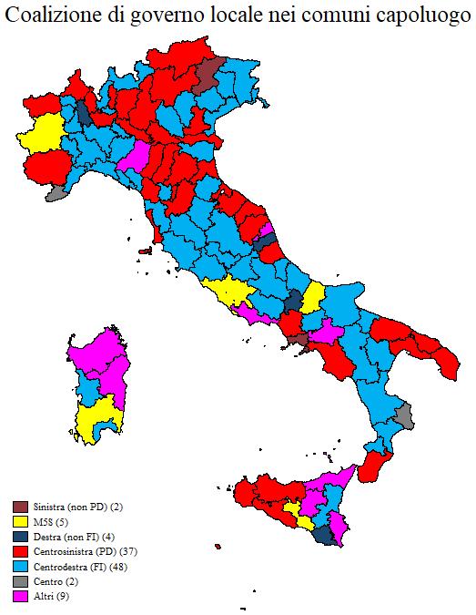 Cartina Dellitalia Politica Con Capoluoghi.La Sorprendente Geografia Del Potere Locale Cise